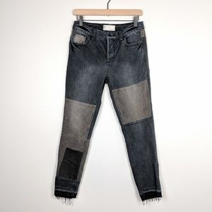 Free People Released Hem Patchwork Jeans Size 27